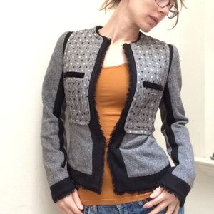 Donna Sui Grey Black Tweed Fitted Blazer